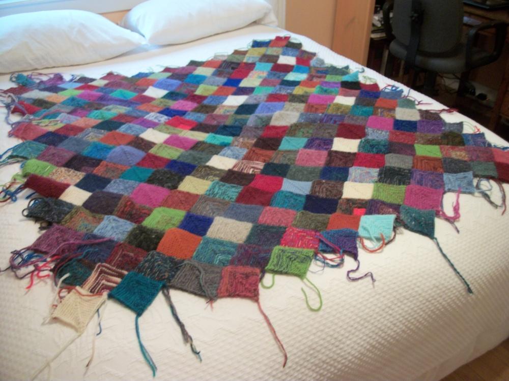 Turkey Tracks:  Scrappy Knitted Blanket Update (1/2)