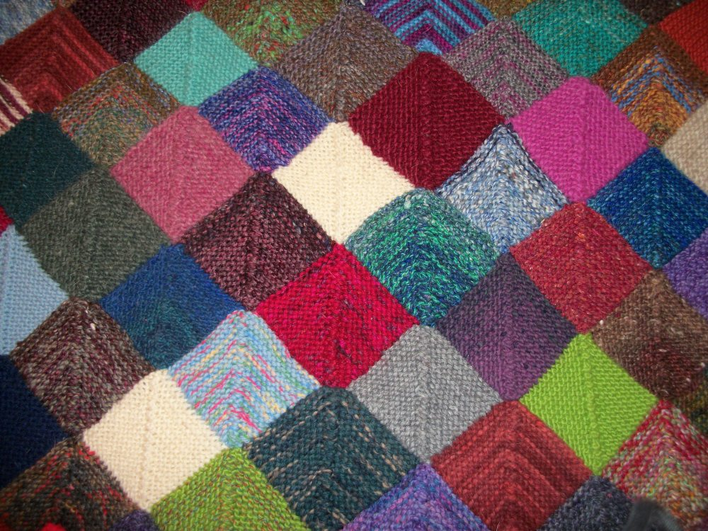 Turkey Tracks:  Scrappy Knitted Blanket Update (2/2)