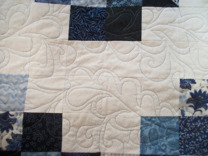 Ann's blue and white quilted