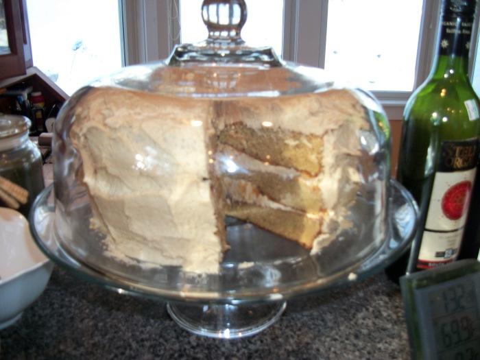Caramel cake cut