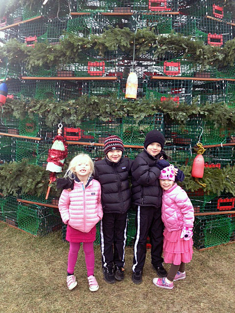 kiddos and lobster Christmas tree, 2012 edited