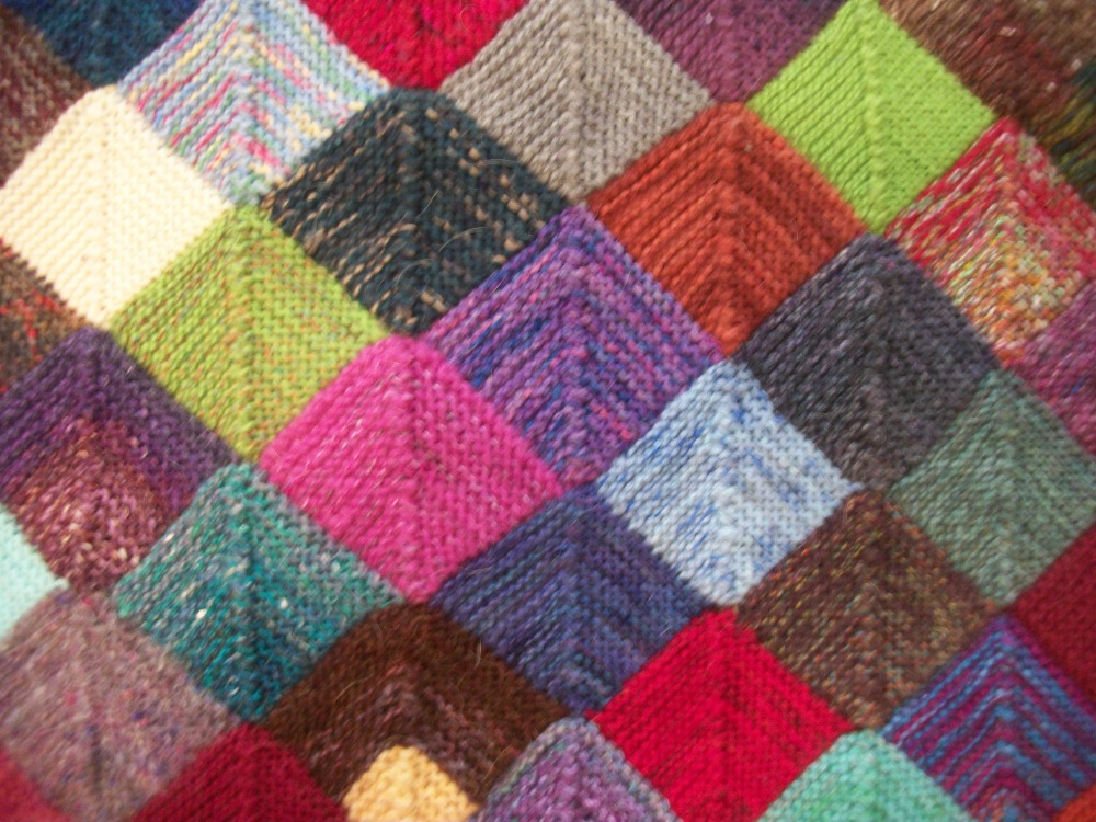 Turkey Tracks:  Knitted Quilt (2/3)