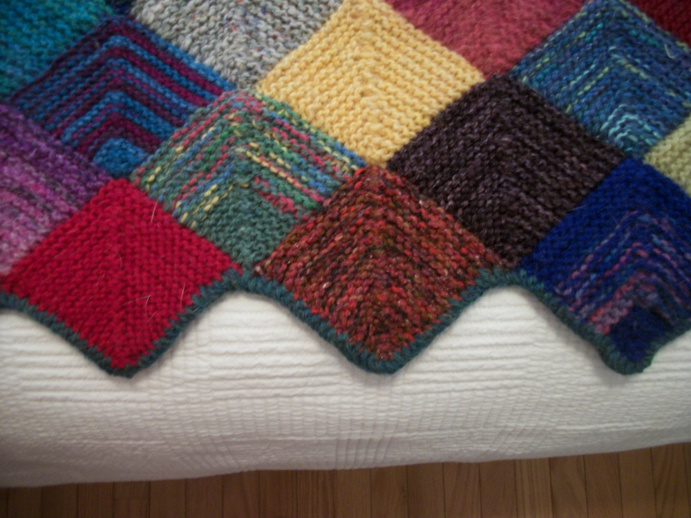 Turkey Tracks:  Knitted Quilt (3/3)
