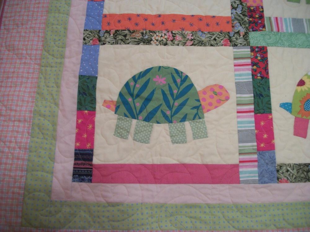 Turkey Tracks:  Green Turtles Quilt (3/6)