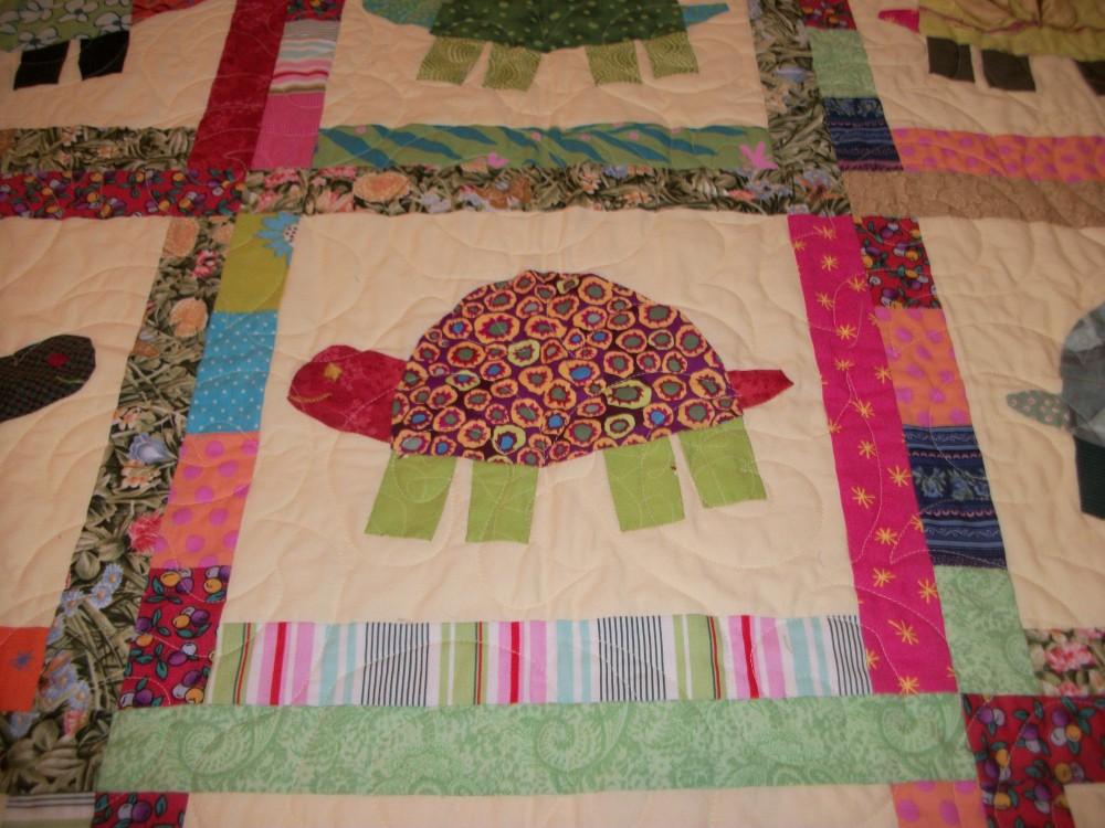 Turkey Tracks:  Green Turtles Quilt (2/6)