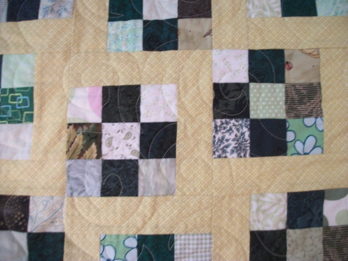 Sunshine and Shadows blocks quilted
