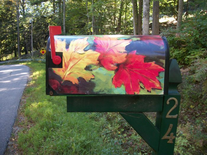 Sept 29, fall leaf mailbox cover