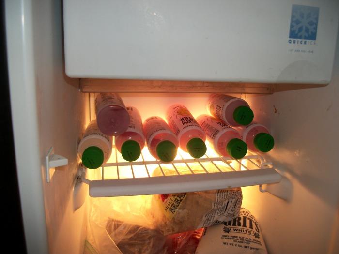 Harmless Harvest in freezer