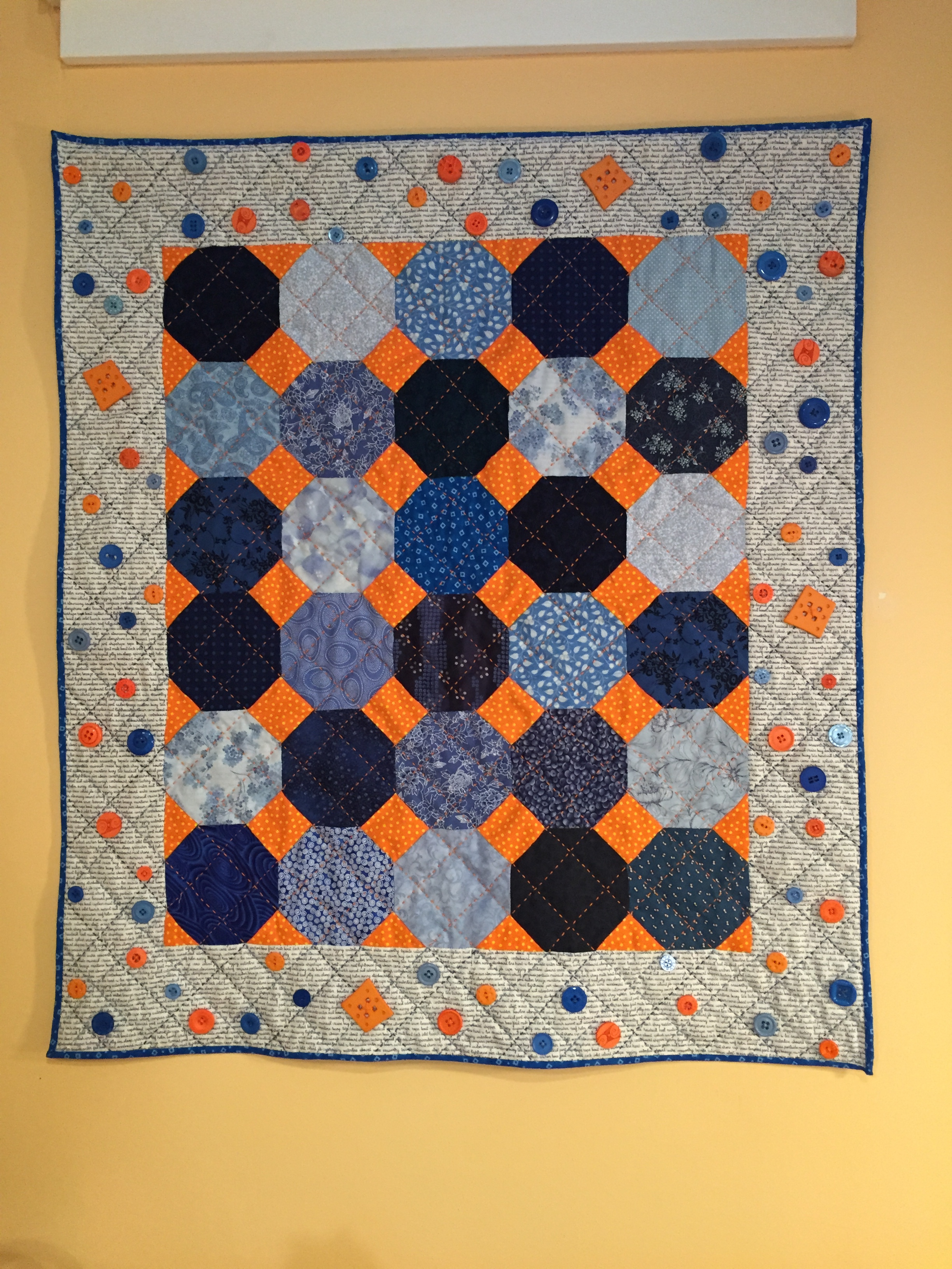 "Turkey Tracks: ""Octagons: Blue and Orange"" Quilt 